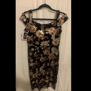 Velour black and champagne floral dress size 4